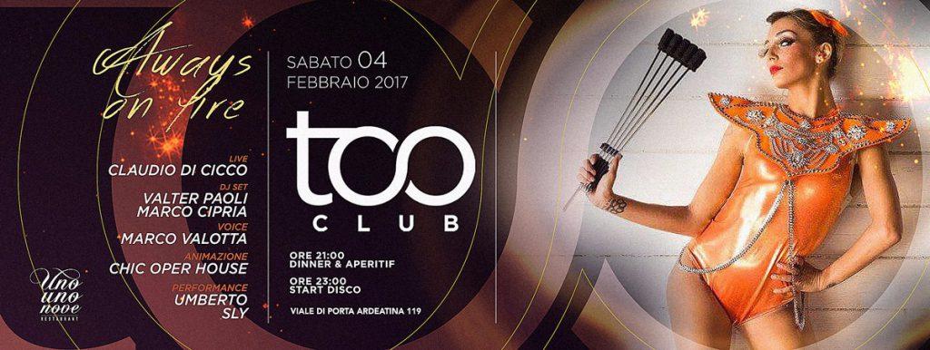 Too Club Roma - Sabato 4 Febbraio 2017